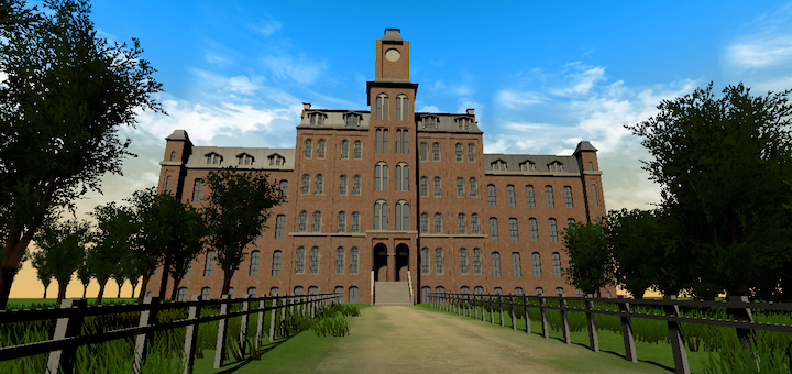 The exterior of my recreation. A screenshot from the virtual tour.